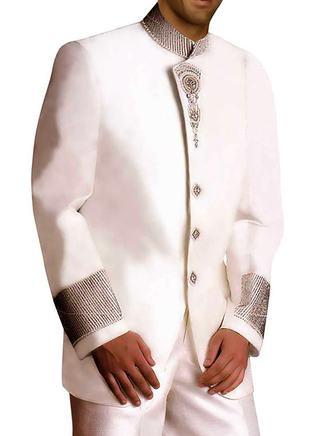Extremely Stylish Linen White 2 Pc Jodhpuri Suit