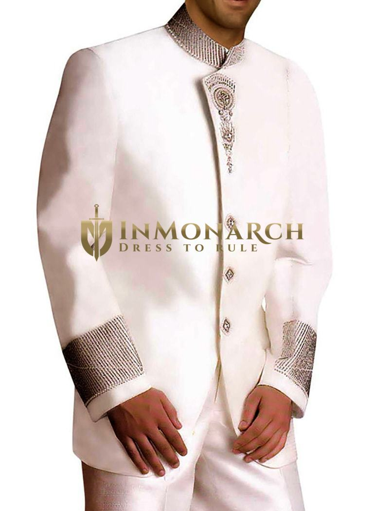 Mens White Linen 2 Pc Jodhpuri Suit Hand Embroidered