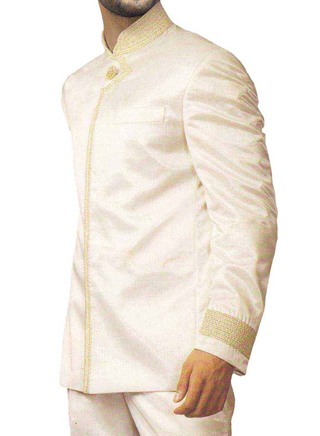 Mens Ivory Silk 3 Pc Jodhpuri Suit Wedding