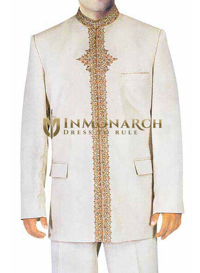 Mens Cream 2 Pc Jodhpuri Suit Traditional Look