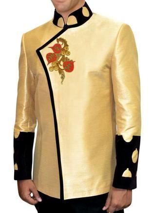Mens Yellow 2 Pc Jodhpuri Suit With Baggy Breeches