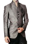 Mens Gray Linen 2 Pc Jodhpuri Suit Open Neck
