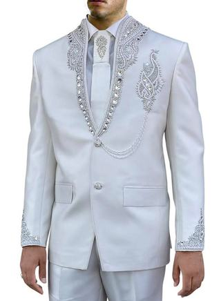 White Mens Ceremonial Jodhpuri Suit