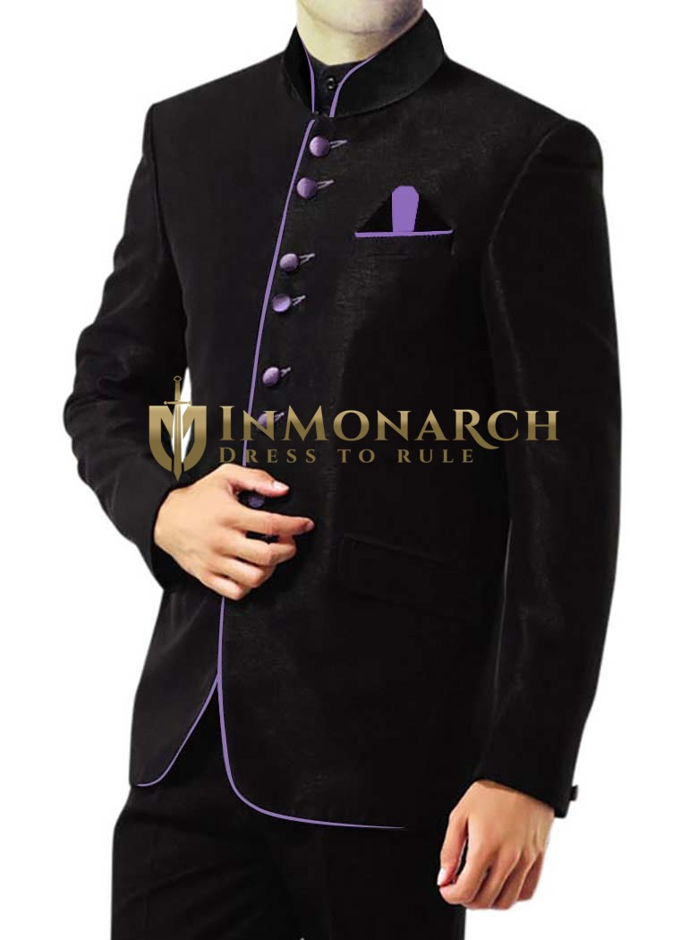 Mens Black 3 Pc Jodhpuri Suit Ethnic Prince