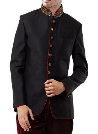 Designer Black 2 Pc Jodhpuri Breeches Coat