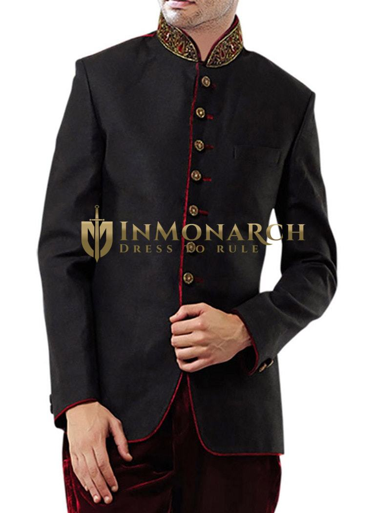 Mens Black 2 Pc Jodhpuri Breeches Coat Designer