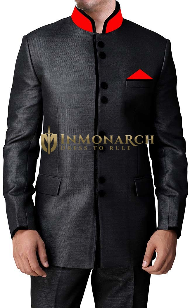 Mens Black 3 Pc Jodhpuri Suit Velvet Trimmed
