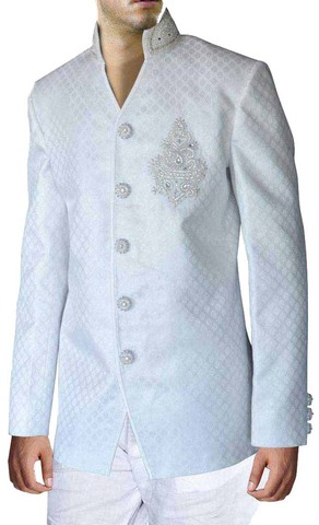 Mens White Brocade 2 Pc Jodhpuri Suit