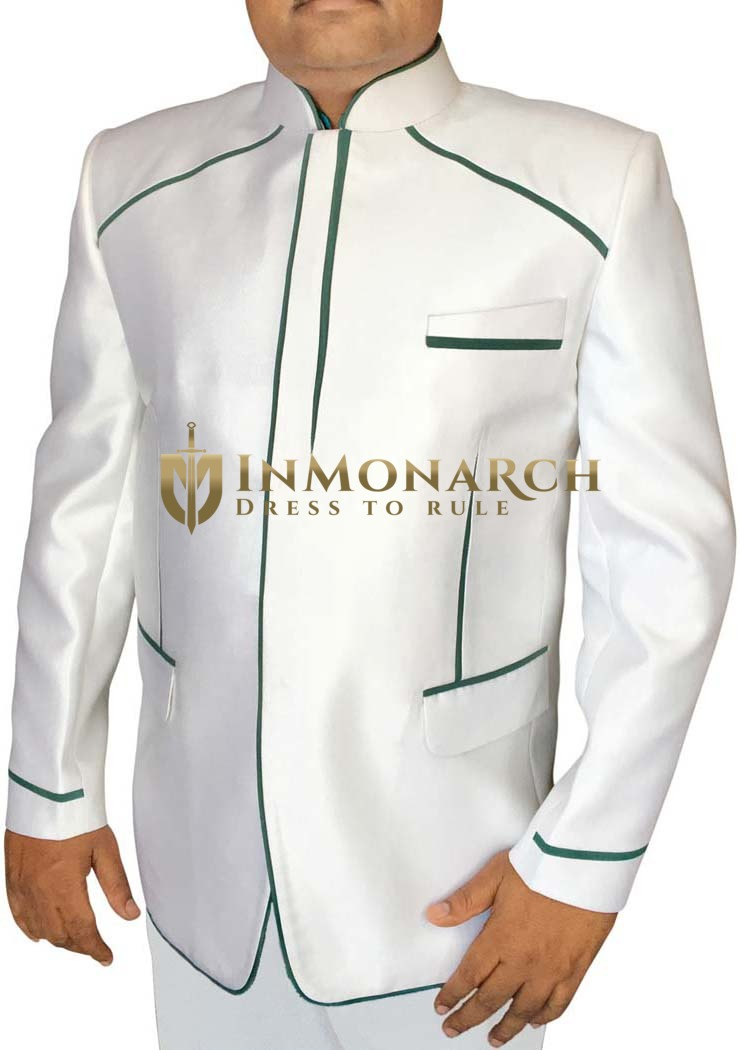 Mens White 2 Pc Jodhpuri Suit Designer