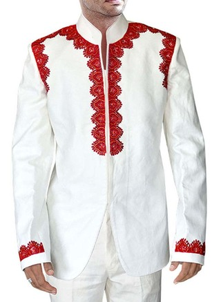Designer White Linen 2 Pc Jodhpuri Suit