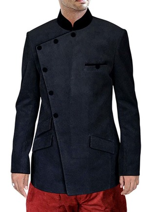 Corduroy Black 2 Pc Jodhpuri Suit