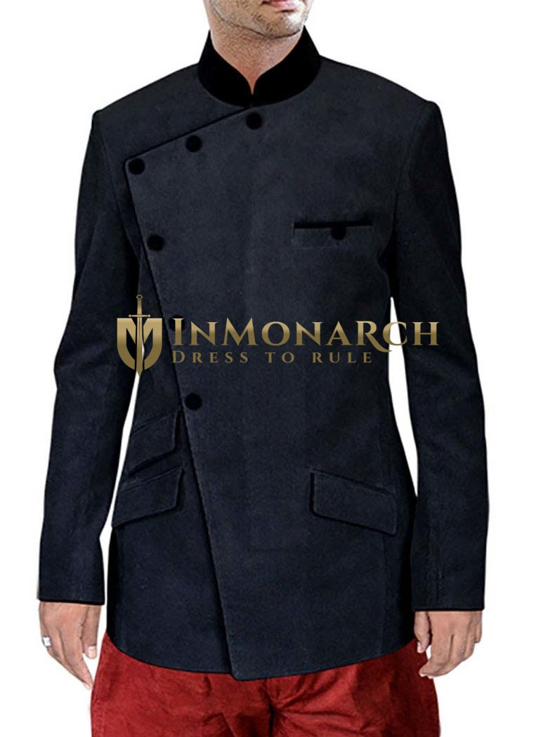 Mens Corduroy Black 2 Pc Jodhpuri Suit