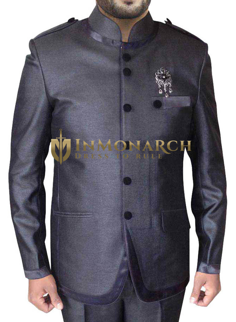 Awesome Purple gray 3 Pc Jodhpuri Suit