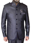 Mens Purple Gray 3 Pc Jodhpuri Suit with Epaulette