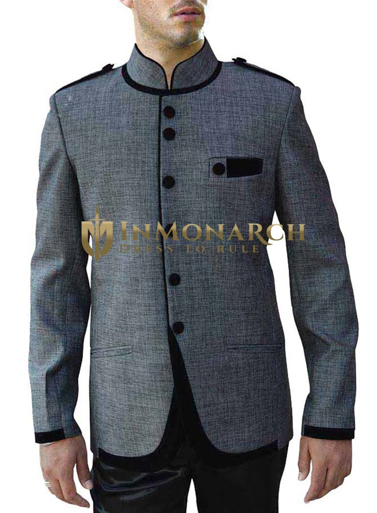 Stylish Gray 2 Pc Jodhpuri Suit