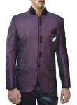 Mens Purple Wine Polyester 4 Pc Jodhpuri Suit
