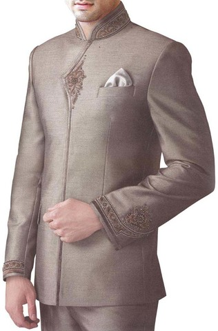 Mens Copper 3 pc Jodhpuri Suit Heavy Work