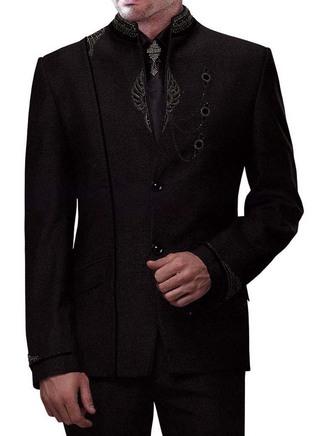 Mens Black 5 pc Jodhpuri Suit Traditional