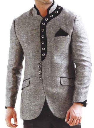 Mens Gray 3 pc Groom Suit Partywear