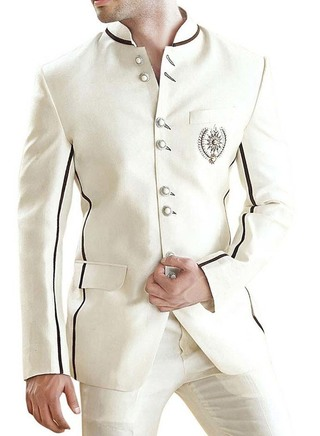 Eight Button Cream Groom 2 Pc Jodhpuri Suit