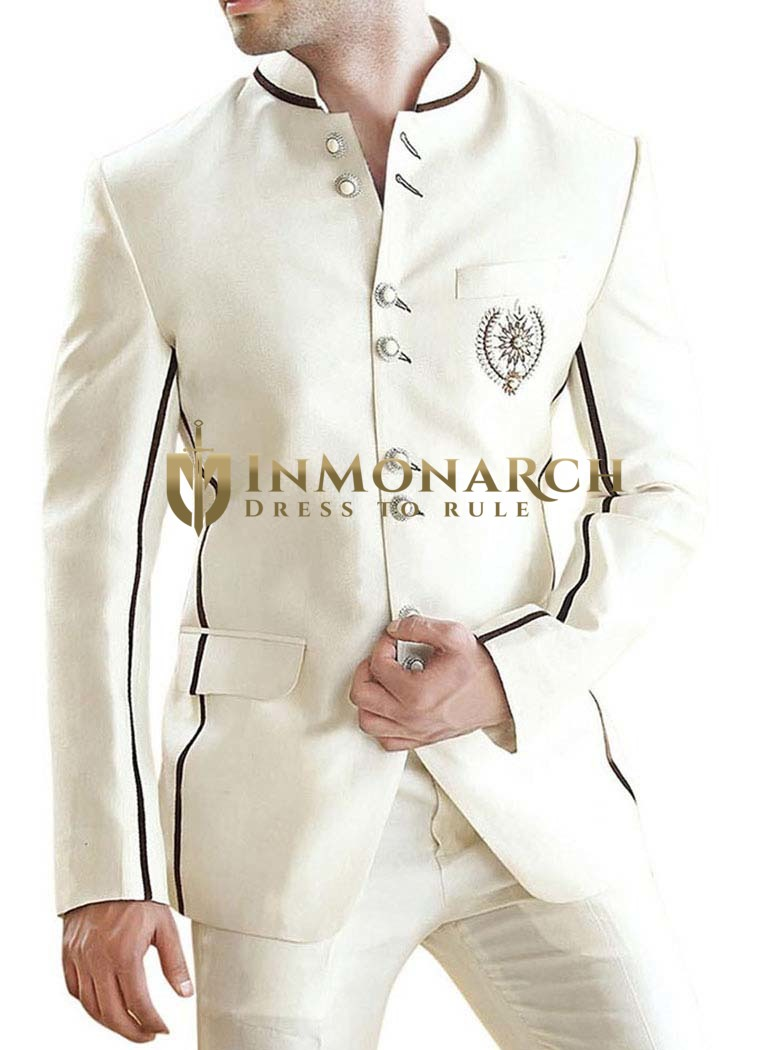 Mens Cream 2 Pc Jodhpuri Suit Eight Button