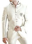 Mens Cream 2 Pc Jodhpuri Suit Eight Button
