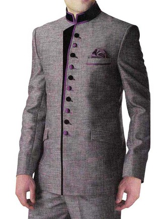 Mens Gray 3 Pc Jodhpuri Wedding Suit