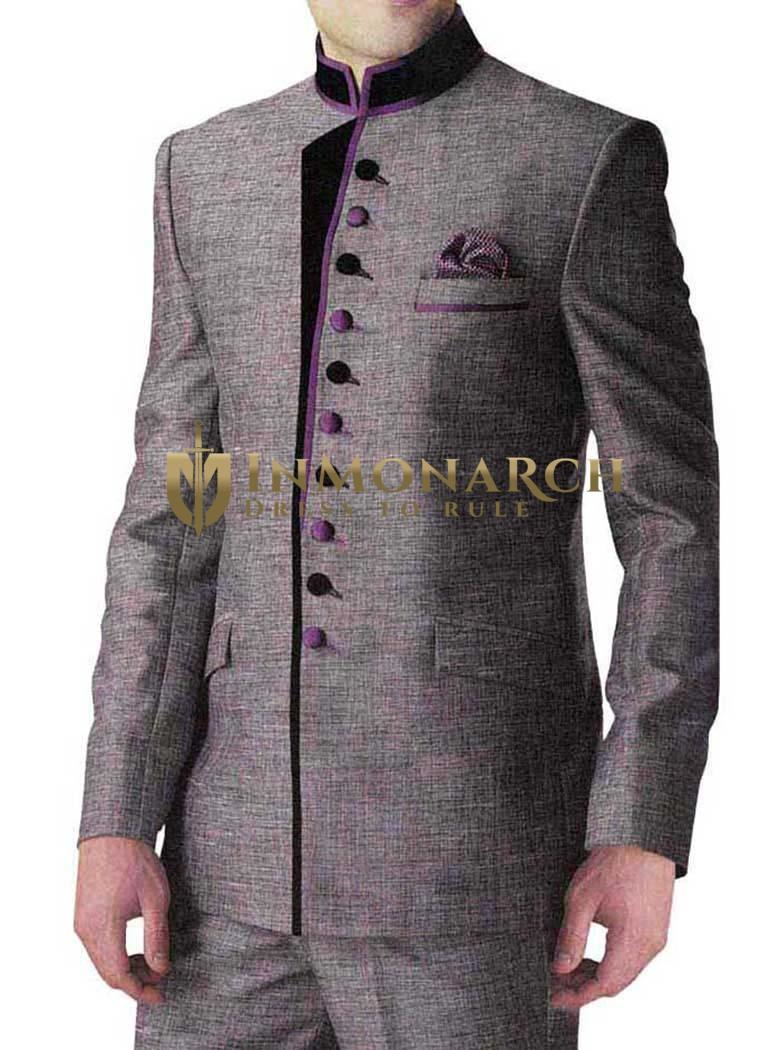 Tempting Wedding Gray 3 Pc Jodhpuri Suit