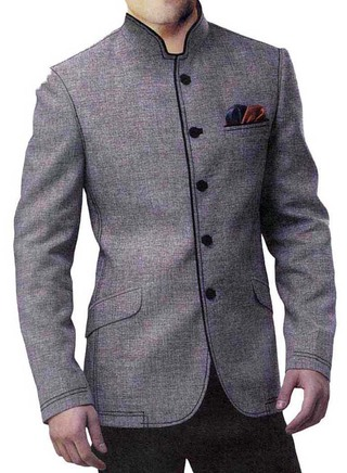 Mens Gray Linen Jute 3 Pc Jodhpuri Suit