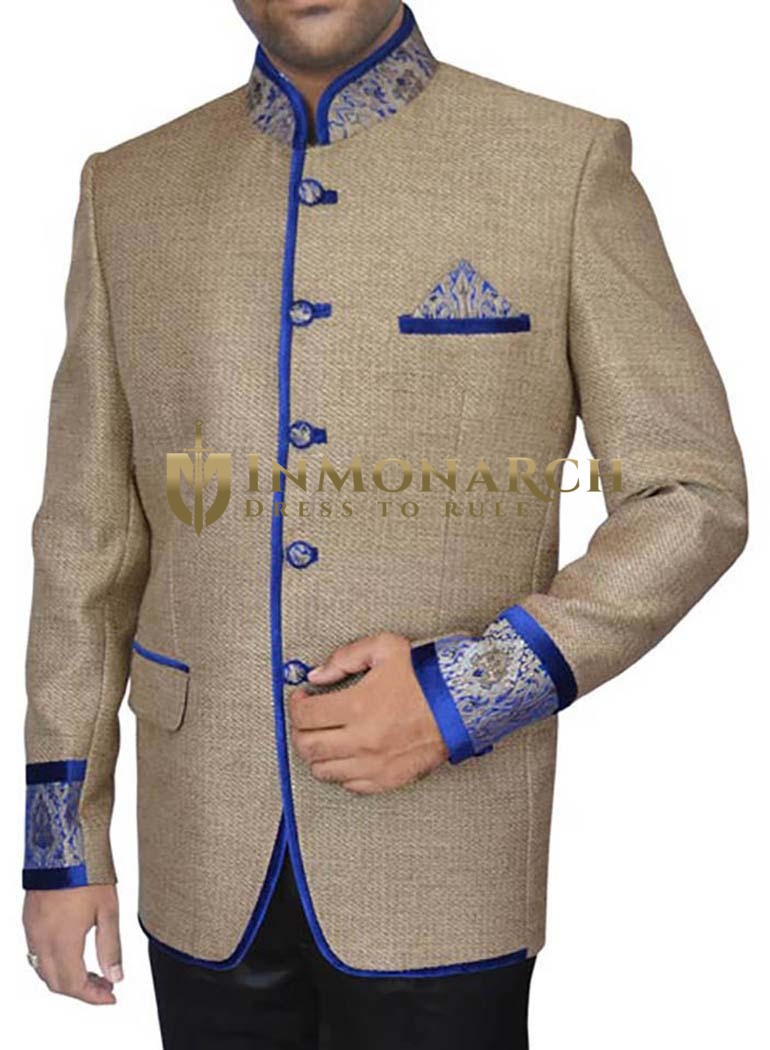 Mens Beige Jute 3 Pc Jodhpuri Suit