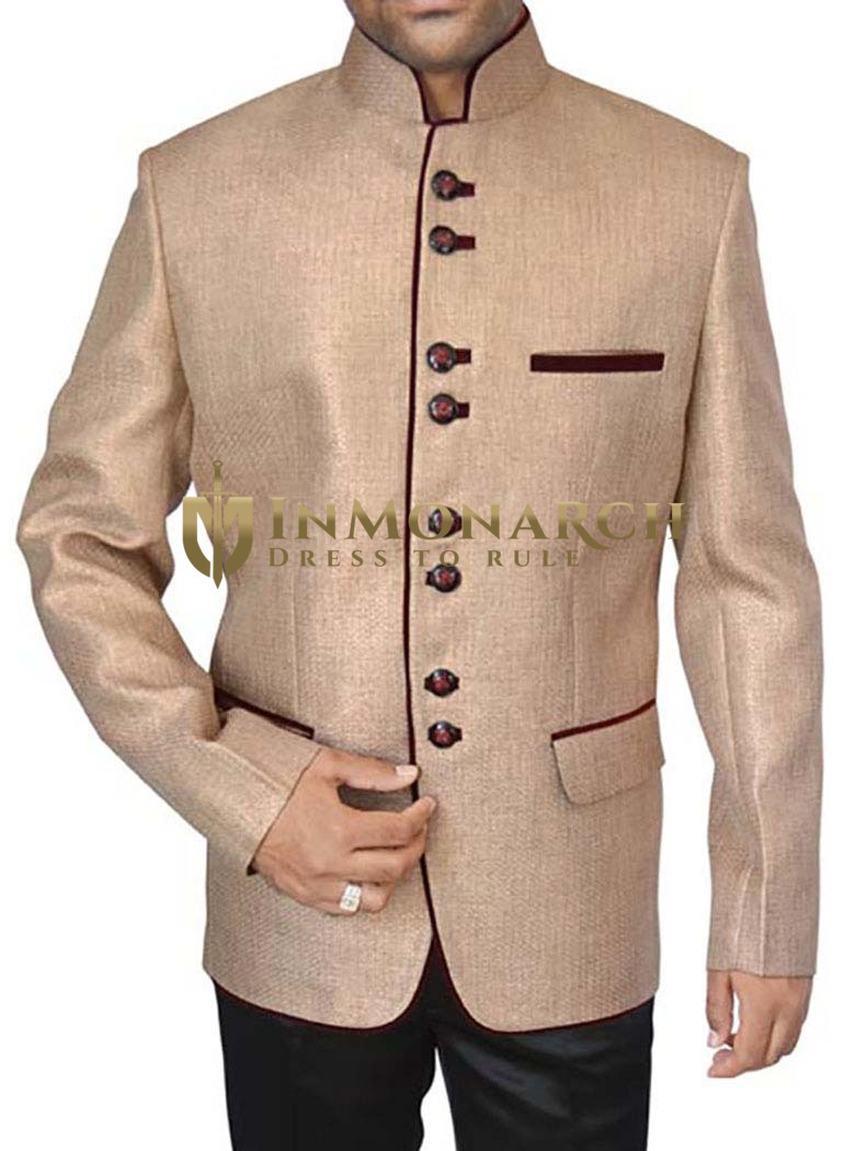 Ethnic Beige Jute 2 Pc Jodhpuri Suit