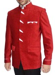 Mens Red Velvet 2 Pc Jodhpuri Suit White Patch
