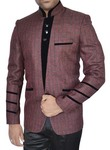 Mens Burgundy Jute 2 Pc Jodhpuri Suit