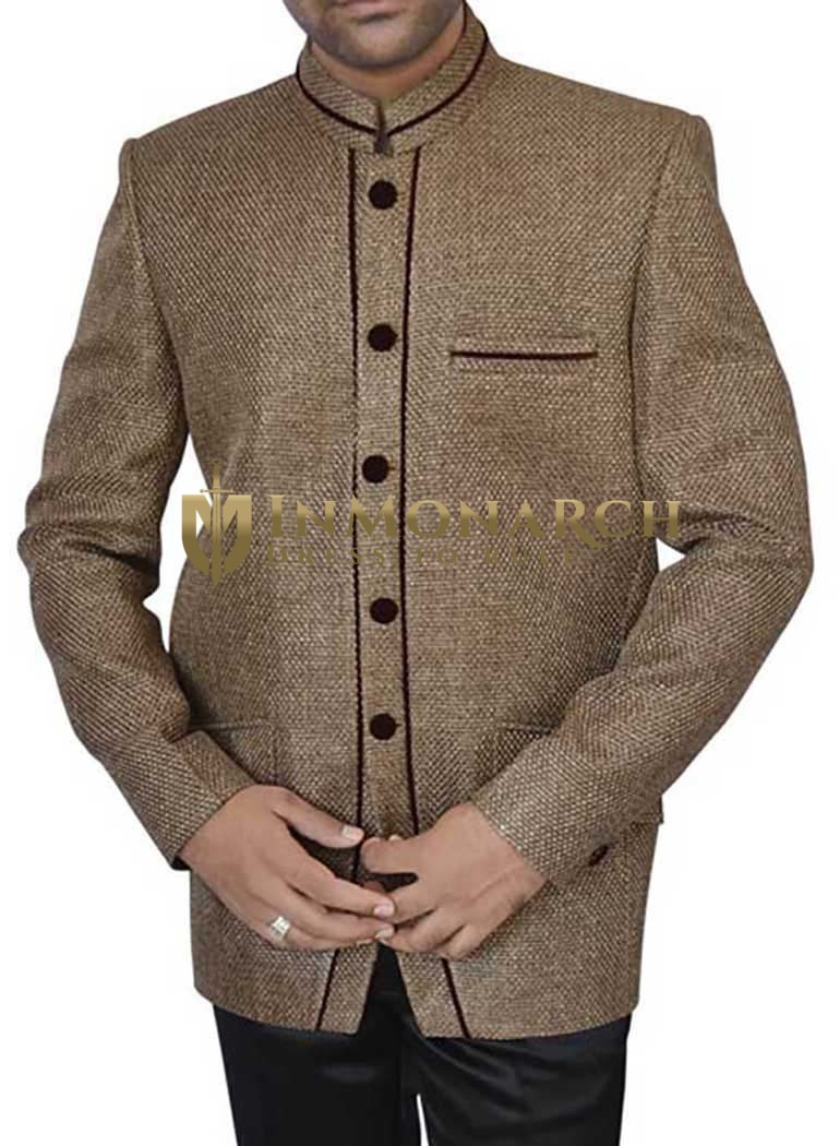 Mens Olive drab Jute Party 2 Pc Jodhpuri Suit