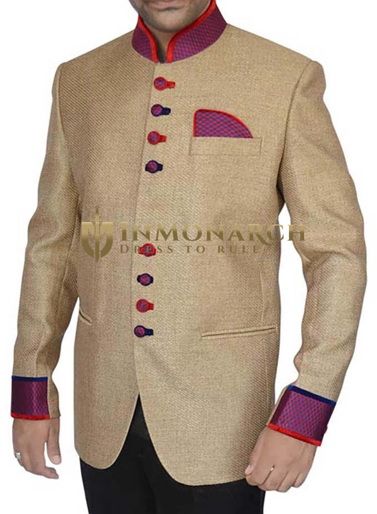 Mens Beige 3 Pc Jodhpuri Suit Patch Work