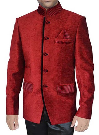 Mens Crimson red Velvet 3 Pc Jodhpuri Suit