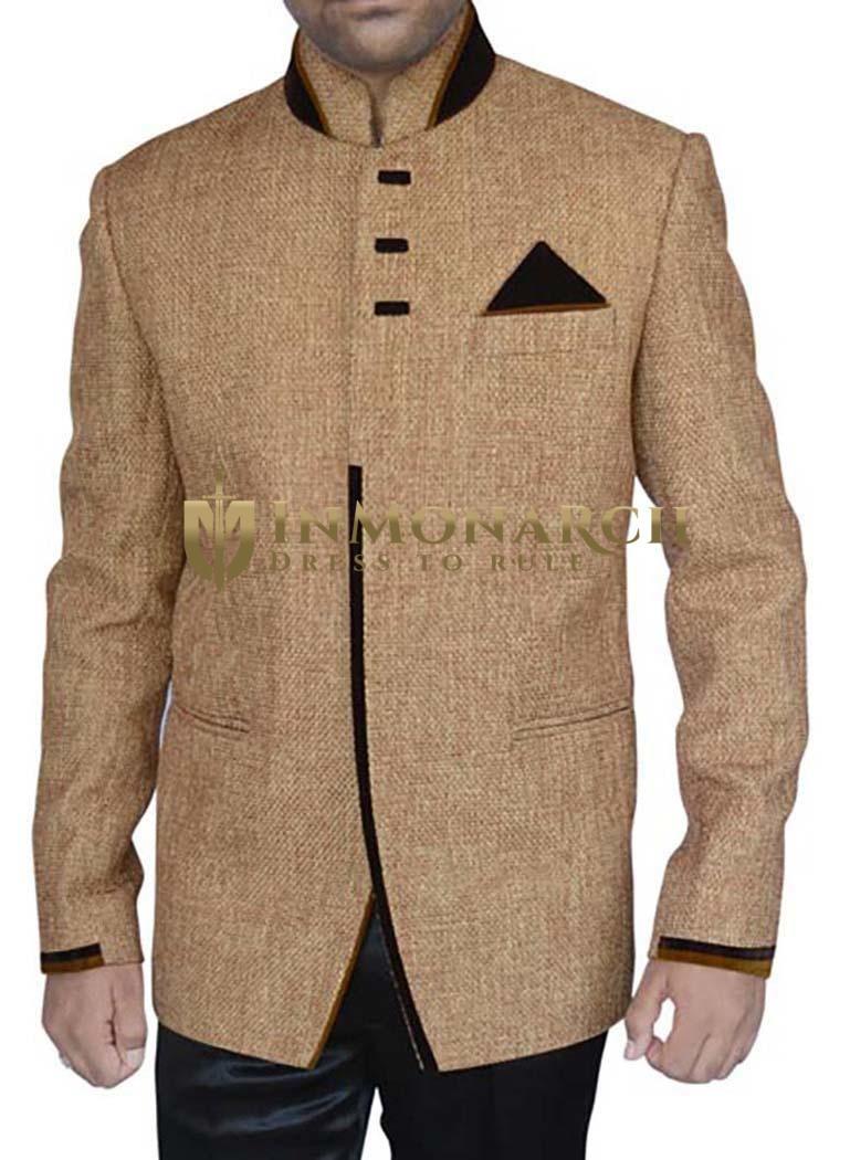 Mind Blowing Tan Jute 3 Pc Jodhpuri Suit