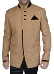 Mens Tan Jute 3 Pc Jodhpuri Suit Designer