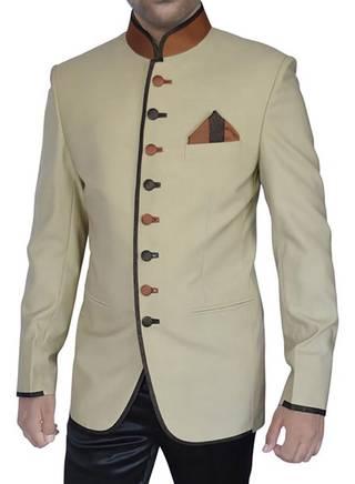 Mens Beige 3 Pc Jodhpuri Suit Brown Piping