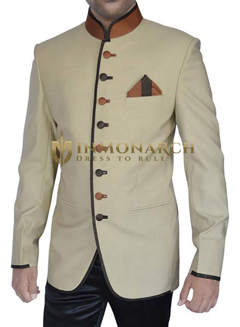 Mens Beige 3 Pc Jodhpuri Suit Brown Piping