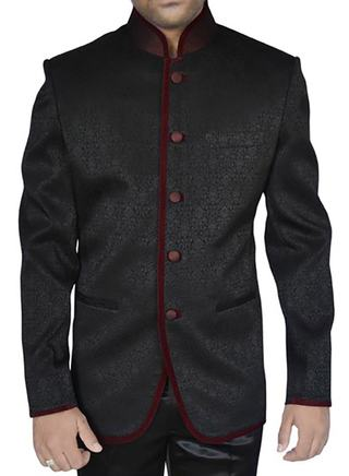 Mens Black Self Design Polyester 2 Pc Jodhpuri Suit