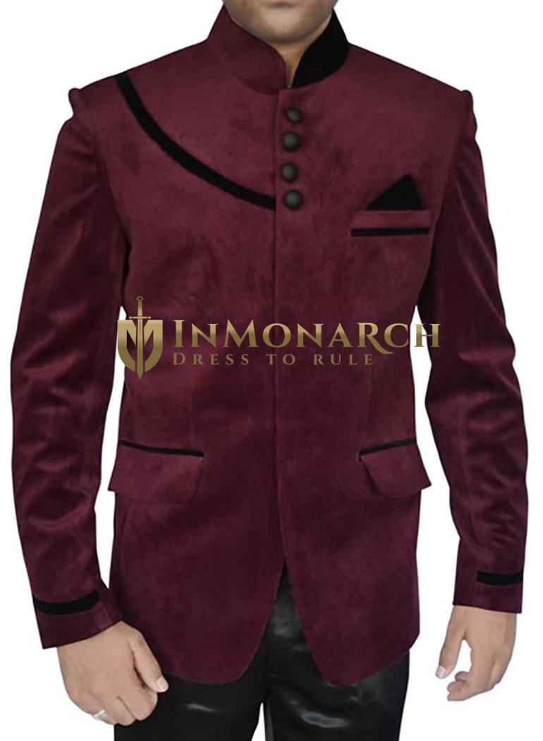 Mens Wine Velvet 3 Pc Jodhpuri Suit Velvet Patchwork