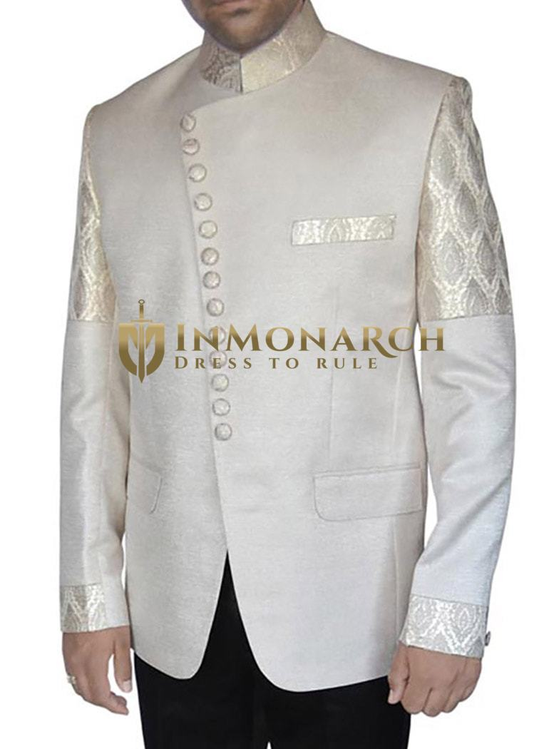 Mens Cream Jute and Brocade 2 Pc Jodhpuri Suit