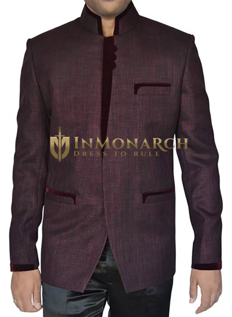 Mens Wine Jute 2 Pc Jodhpuri Suit Designer