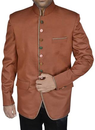 Mens Copper Polyester 2 Pc Jodhpuri Suit