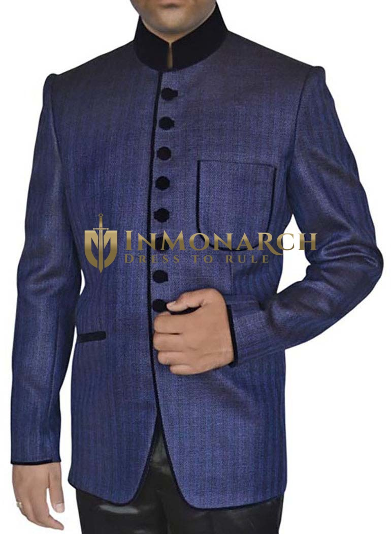 Mens Navy blue 2 Pc Jodhpuri Suit Traditional