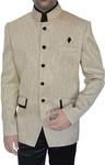 Mens Ivory Jute 3 Pc Jodhpuri Suit Designer