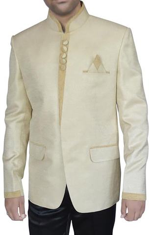 Mens Ivory Jute 3 Pc Jodhpuri Suit Wedding