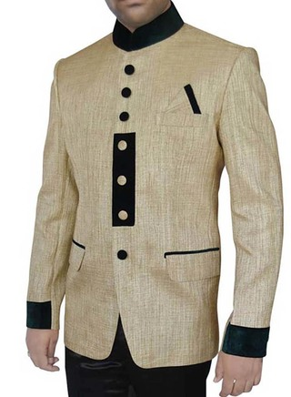 Mens Golden Jute 3 Pc Jodhpuri Suit Designer