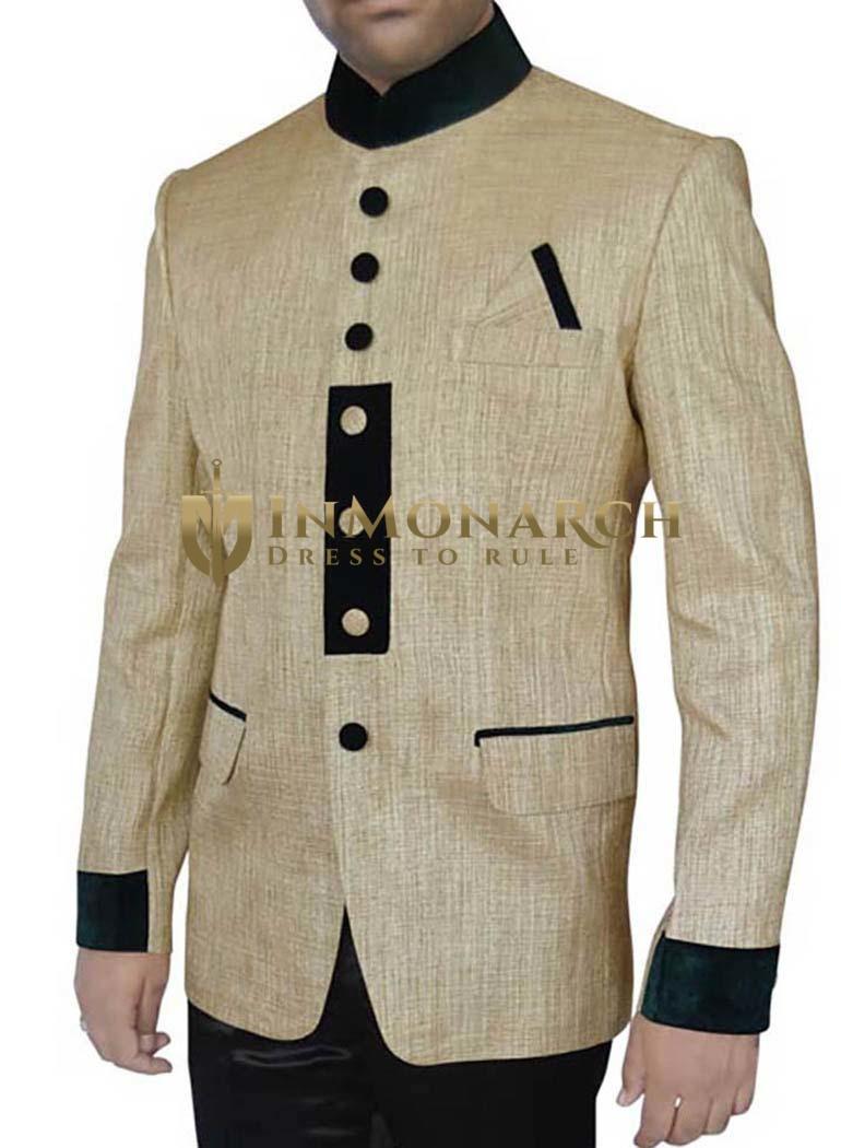 Extremely Stylish Golden 3 Pc Jodhpuri Suit